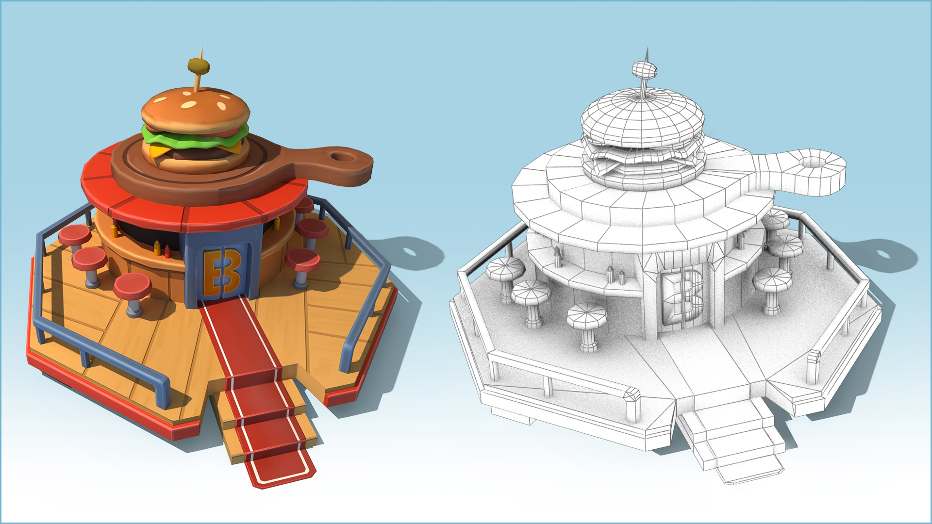 Food Corner over the Clouds Wireframe